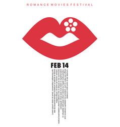 romance movies festival minimal poster design vector image