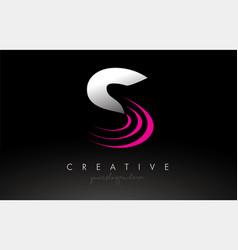 S white and pink swoosh letter logo letter design vector