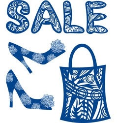 Sale shoes bag vector image
