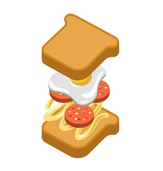 sandwich burger fast food ingredients constructor vector image