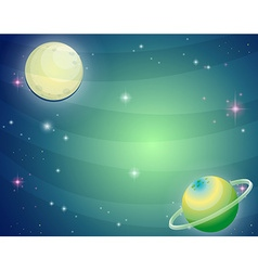 Scene with planet and moon vector