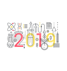 science 2019 word trendy composition concept vector image