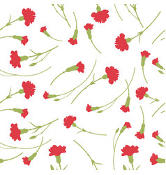 Seamless carnation flowers pattern on white vector