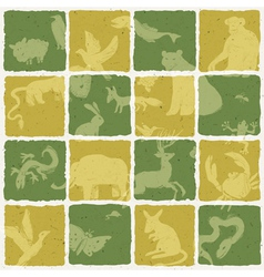 Seamless zoo themed pattern vector