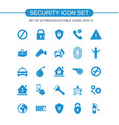 security icons set blue vector image