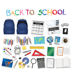 set a real back to school object vector image