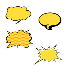 Set of bright yellow blank speech bubbles vector