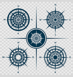 Set of isolated compass roses or wind roses vector
