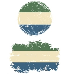 Sierra Leone round and square grunge flags vector
