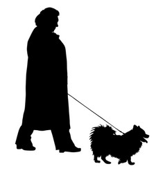 Silhouette of people and dog vector