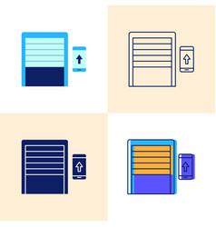 smart garage door opening icon set in flat and vector image