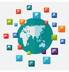 Social media icons on world globe vector image