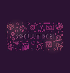 solution horizontal colorful outline vector image