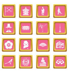 South korea icons pink vector