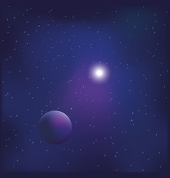 space background with shining star and planet vector image