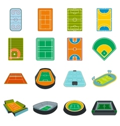 Stadium flat icons set vector