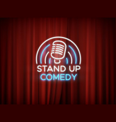 stand up comedy neon sign with microphone and red vector image