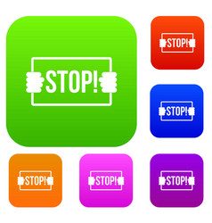 stop set color collection vector image