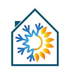 Sun and snowflakes for home air conditioning vector