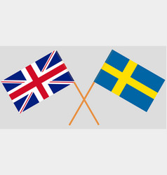 the crossed uk and sweden flags vector image