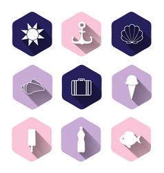 Travel and vacation icon collection - silhouette vector