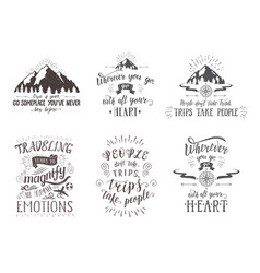 Travel postcards set of tourism banners with hand vector