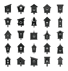 Tree bird house icons set simple style vector