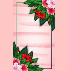 tropical background with rectangle floral frame vector image