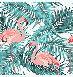 Turquoise tropical jungle leaves pink flamingos vector