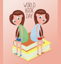 two girl reading books for world book vector image