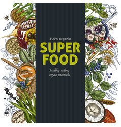 vertical banner full color realistic superfood vector image