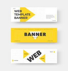 white horizontal web banner with yellow triangle vector image