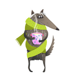 Wolf wearing scarf drinking tea vector