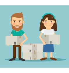 Young couple moving vector image