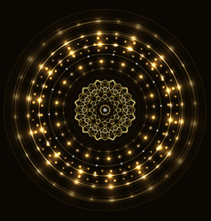abstract gold round frame with mandala vector image vector image