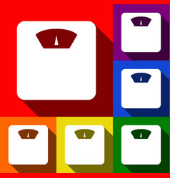 bathroom scale sign set of icons with vector image