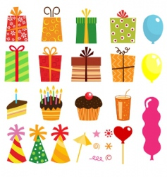 birthday elements vector image