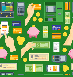 cartoon payment pattern on a green vector image