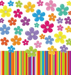 Flowers on colorful stripe background vector image