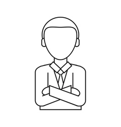 Man business crossed arms suit necktie thin line vector