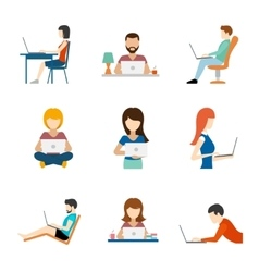 People working on computer flat icons vector image