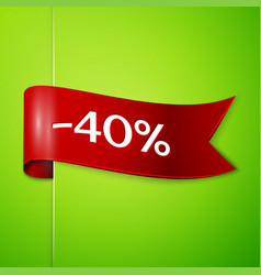 red ribbon with text forty percent for discount vector image