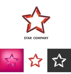 Scattered Star Logo Set Colored Black And White vector image vector image