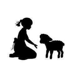 silhouette girl sitting knees beckon lamb vector image