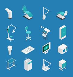 stomatology dentistry isometric icon set vector image