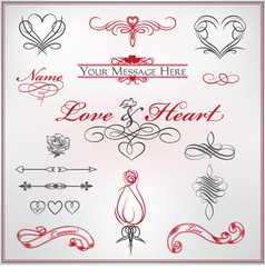 calligraphy set love and heart vector image