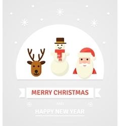 Greeting Christmas Card New Year characters - vector image vector image