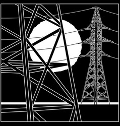 High-voltage power lines vector