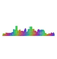 Houston skyline silhouette - multicolor line art vector image vector image