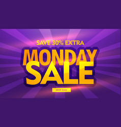 Monday sale banner design with purple background vector